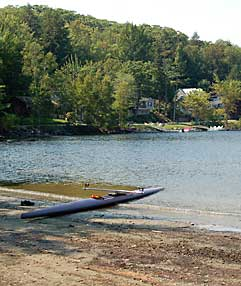 Beached kayak on Barrett's Cove Megunticook Lake